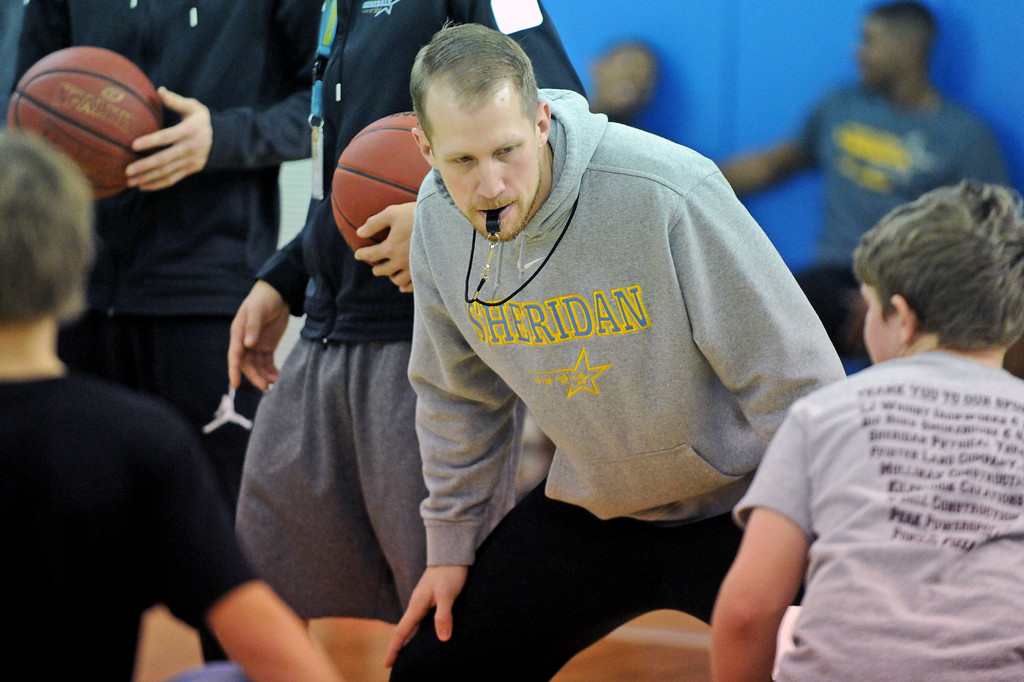 Sheridan College assistant men's basketball coach Tom Parks blows his whistle to begin a dribbling contest during basketball camp on Saturday, Jan. 7 at the Bruce Hoffman Golden Dome. Mike Pruden   the Sheridan Press