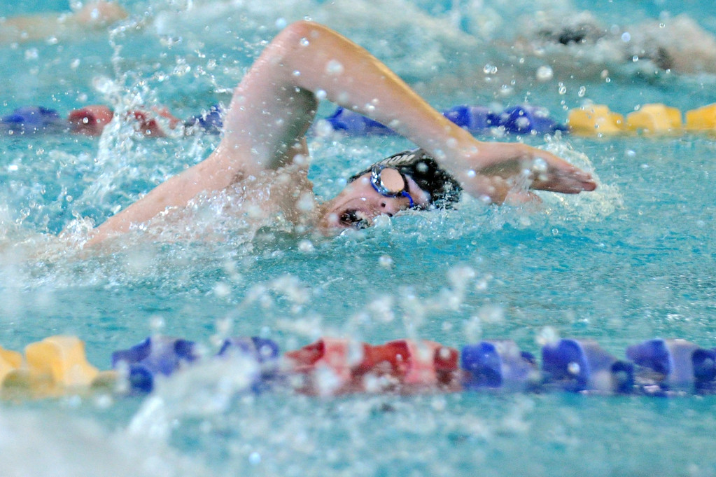 Jacob Ahlstrom takes a quick breath during the 200-meter freestyle at the Sheridan Invite on Saturday, Jan. 7 at Sheridan Junior High School. Mike Pruden   The Sheridan Press