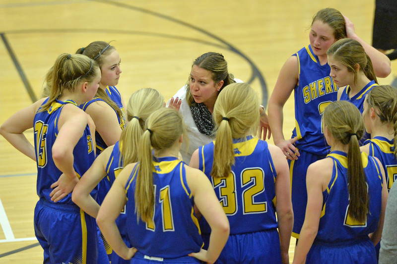 Sheridan High School head girls basketball coach Jessica Pickett talks to her players during a timeout on Friday, Jan. 20 at Cheyenne South High School. Mike Pruden | The Sheridan Press
