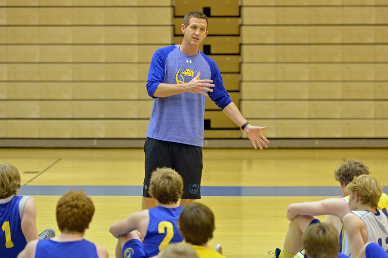 Sheridan High School head boys basketball coach Jeff Martini speaks to the team after practice on Monday, Jan. 23 at Sheridan High School. This is Martini's first season as head coach of the Broncs. Mike Pruden | The Sheridan Press