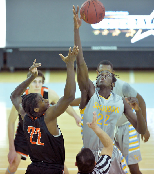 Elhadji Dieng, right, wins the opening tipoff against Central Wyoming's Irshaad Hunte on Wednesday, Jan. 25 at the Bruce Hoffman Golden Dome. Mike Pruden | The Sheridan Press