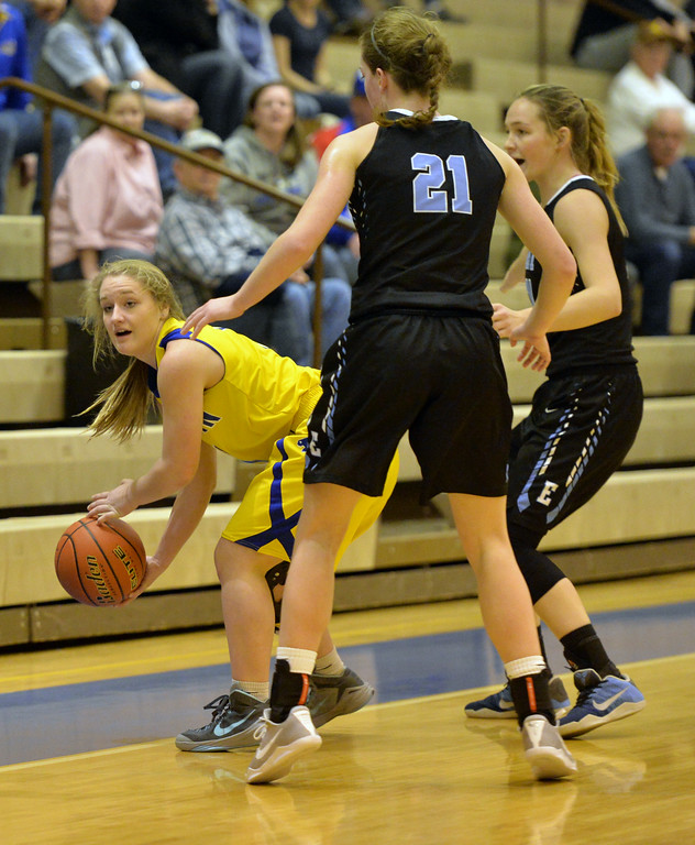Braylee Standish tries to fight her way around Cheyenne East's press defense on Saturday, Jan. 28 at Sheridan High School. Mike Pruden | The Sheridan Press