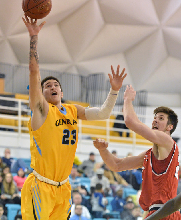 Sheridan College's Channel Banks, left, shoots a floater against Casper College on Saturday, Jan. 14 at the Bruce Hoffman Golden Dome. Banks' 24 points weren't enough in Sheridan's 61-57 loss. Mike Pruden | The Sheridan Press