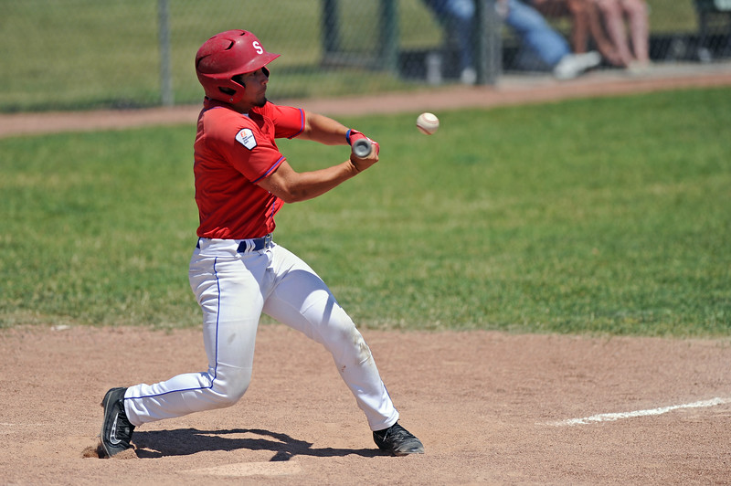 Blake King turns into a swing during Sheridan's doubleheader with Cody on Saturday, July 8 at Thorne-Rider Stadium. Mike Pruden | The Sheridan Press