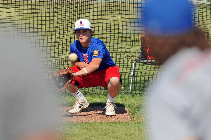 Sheridan Trooper Andrew Ratty catches a pitch at baseball camp on Friday, July 7 at Thorne-Rider Stadium. Mike Pruden | The Sheridan Press