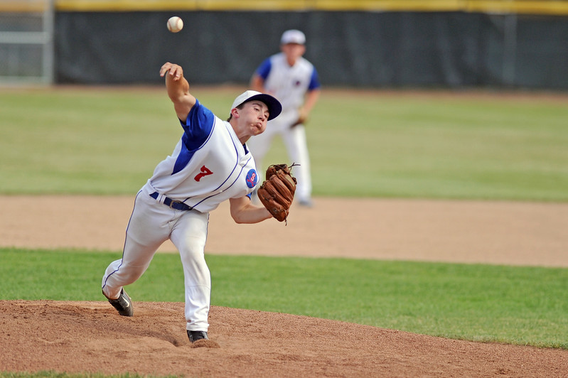 Noah Gustafson pitches the ball during Sheridan's 8-7 win over Laurel on Wednesday, July 5 at Thorne-Rider Stadium. Mike Pruden | The Sheridan Press