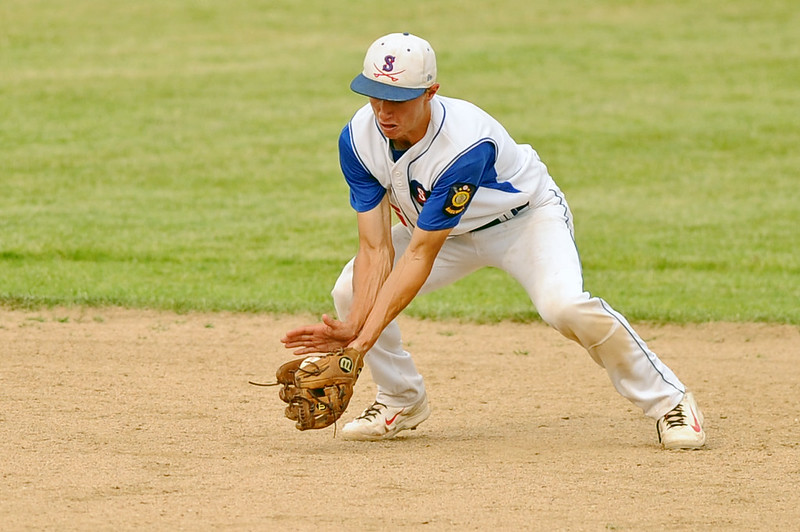 Shortstop Jeff Shanor fields a ground ball during Sheridan's 8-7 win over Laurel on Wednesday, July 5 at Thorne-Rider Stadium. Mike Pruden | The Sheridan Press