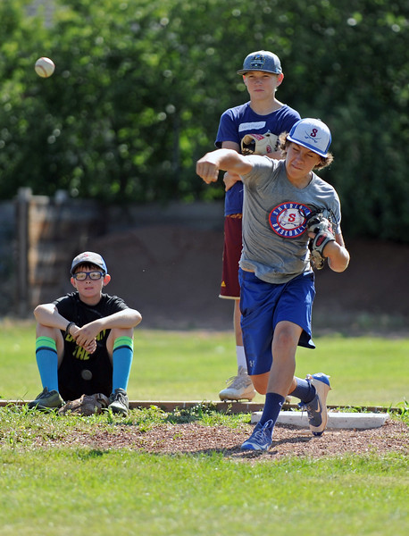 Michael Greer fires a pitch at Troopers baseball camp on Friday, July 7 at Thorne-Rider Stadium. Mike Pruden | The Sheridan Press