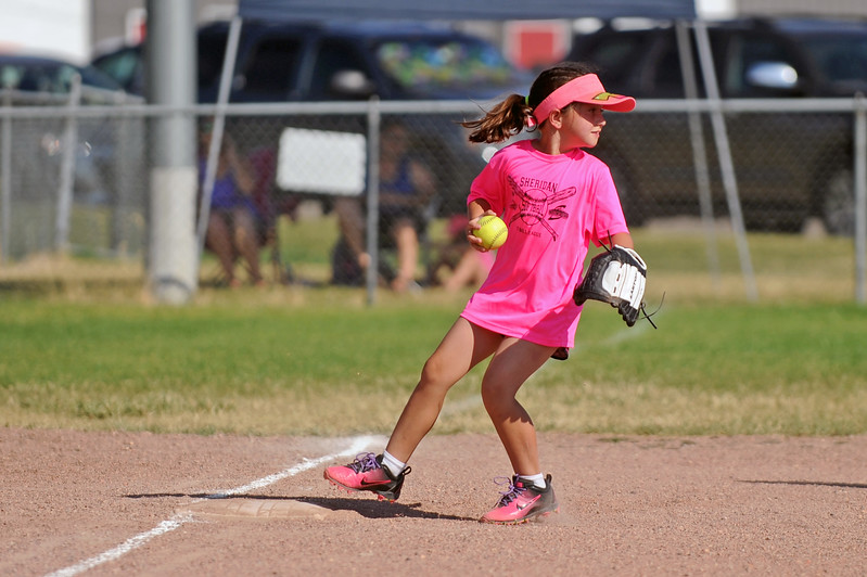 Tera Bittner gets a force out at third base during Sheridan Recreation District softball on Monday, July 10 at Sixth Street Fields. Mike Pruden | The Sheridan Press