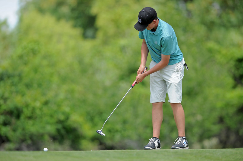 Laramie's Tate Noble putts on the Eagle fifth green during a Wyoming State Golf Association junior golf tournament on Tuesday, June 20 at the Powder Horn. Mike Pruden | The Sheridan Press