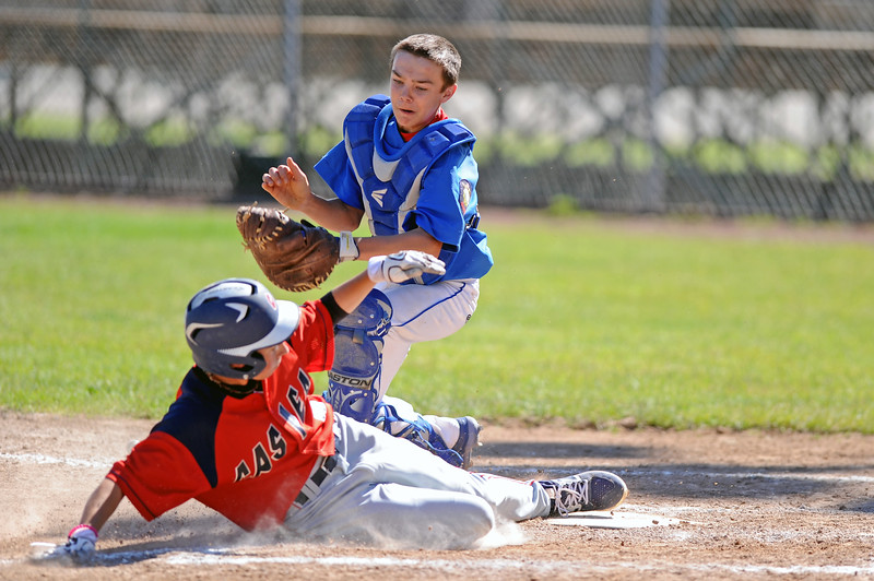 Sheridan catcher Dalton Nelson is late with the tag on a sliding Garrett Clasen at home plate during the Jets' doubleheader with Casper on Wednesday, June 21 at Thorne-Rider Stadium. Mike Pruden | The Sheridan Press