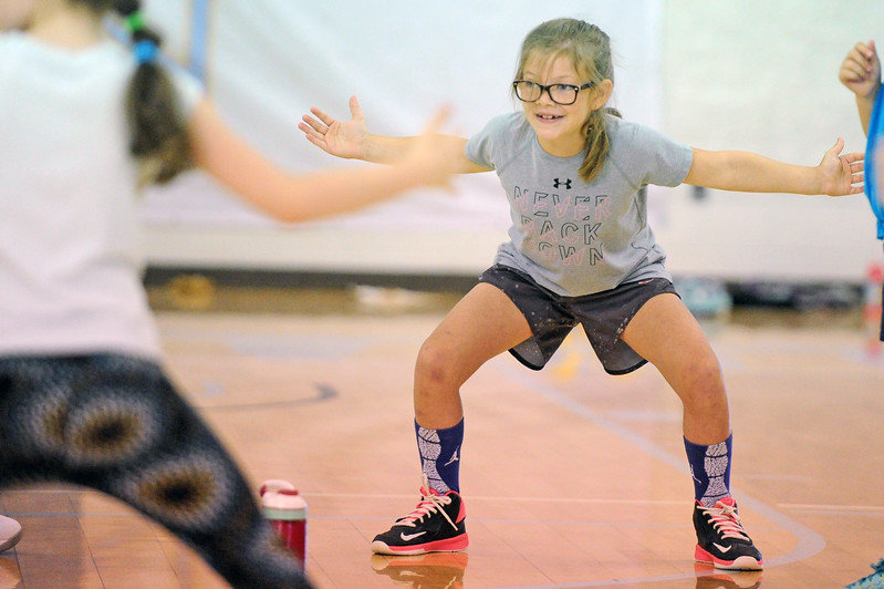 Dylan Coon wins a defensive-stance contest during Sheridan College women's basketball camp on Thursday, June 22 at the Bruce Hoffman Golden Dome. Mike Pruden | The Sheridan Press