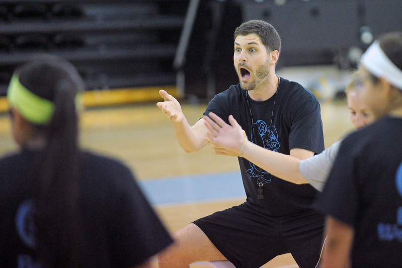 Sheridan College women's basketball coach Ryan Davis reacts to a player's effort during basketball camp on Thursday, June 22 at the Bruce Hoffman Golden Dome. Mike Pruden | The Sheridan Press