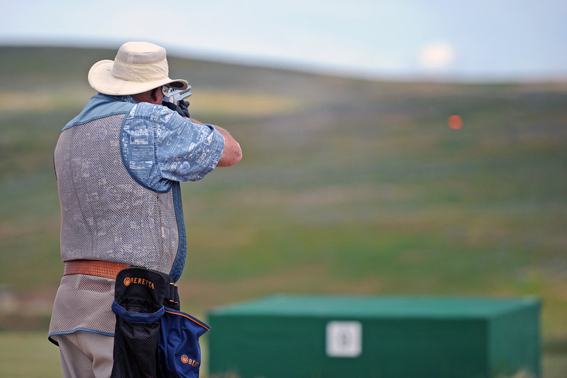 Robert Griffith fires at a clay pigeon during the Wyoming State Trap Shoot on Friday, June 30 at the Sheridan County Sportsman Gun Club. Mike Pruden | The Sheridan Press