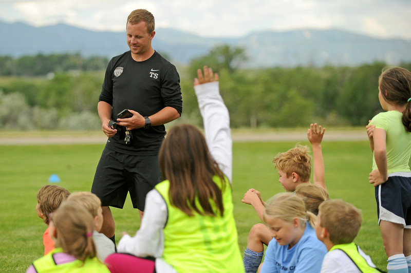 Sheridan College head men's soccer coach Tim Starr answers questions during soccer camp on Wednesday, July 28 at Sheridan College. Mike Pruden | The Sheridan Press