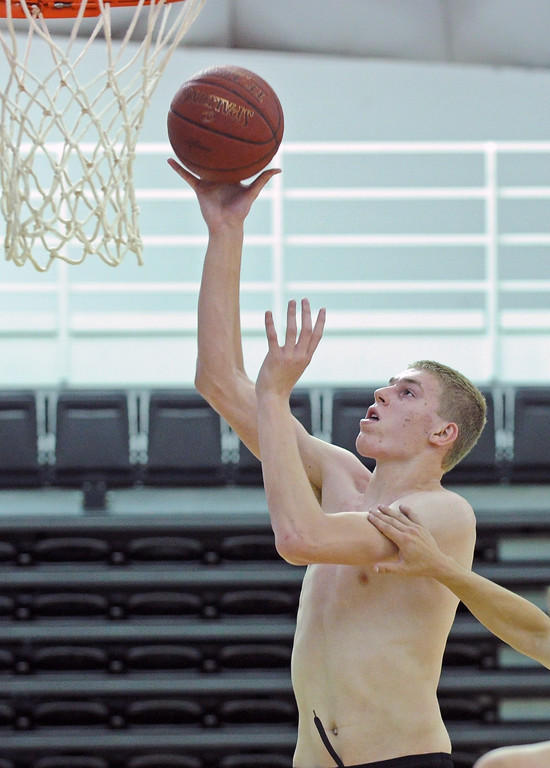 Rock Springs' Kelby Kramer scores a layup during the first day of practice with the Wyoming All-Stars on Wednesday, June 7 at the Bruce Hoffman Golden Dome. Mike Pruden | The Sheridan Press