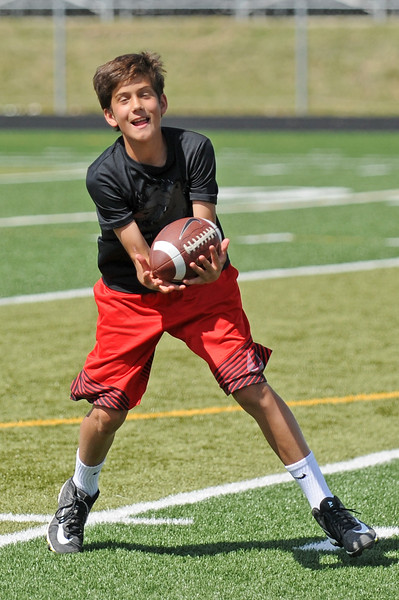 Cade Butler pulls in a pass during the Justin O'Dell Memorial Football Camp on Thursday, June 8 at Big Horn High School. Mike Pruden | The Sheridan Press