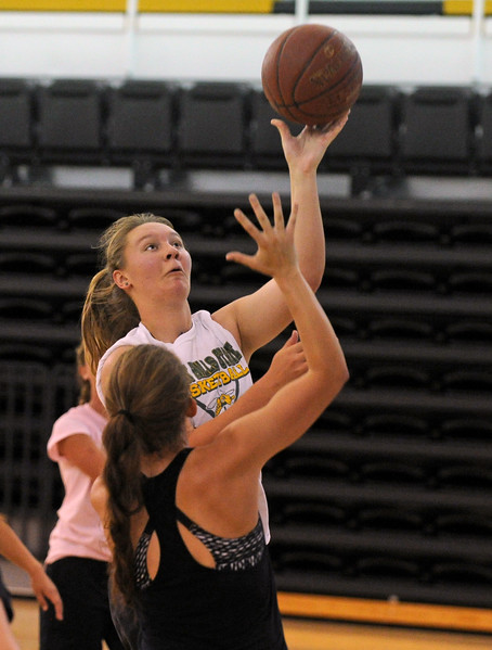 Worland's Lyndzi Rich goes up for a layup during the first day of practice with the Wyoming All-Stars on Wednesday, June 7 at the Bruce Hoffman Golden Dome. Mike Pruden | The Sheridan Press