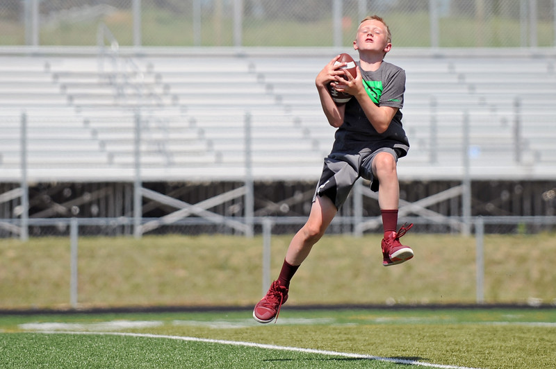 Drew Heermann jumps to catch a pass during the Justin O'Dell Memorial Football Camp on Thursday, June 8 at Big Horn High School. Mike Pruden | The Sheridan Press