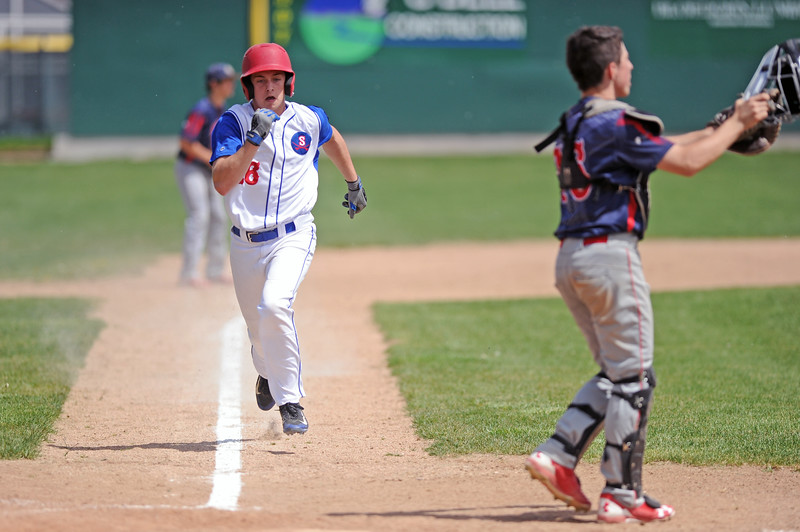 Carl Geertz scores one of Sheridan's four runs in the fifth inning of the first game against Rapid City Post 22 on Sunday, May 7 at Thorne-Rider Stadium. Mike Pruden | The Sheridan Press