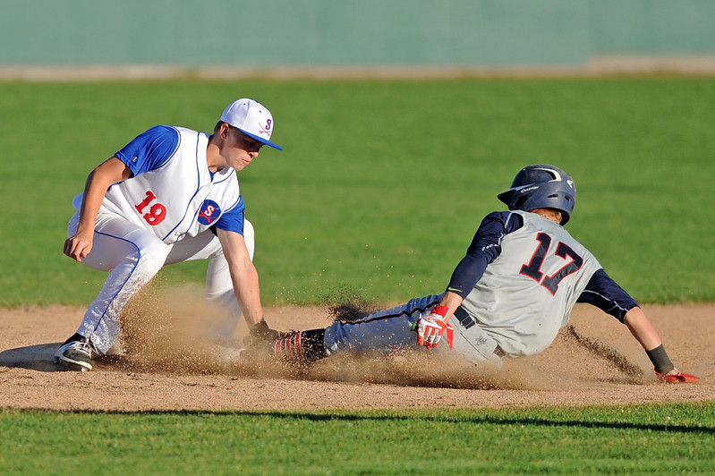 Second baseman Quinn McCafferty, left, tags Casper's Jesse Carr on a steal attempt on Wednesday, May 10 at Thorne-Rider Stadium. Casper scored three runs in the ninth inning to take a 7-6 win over the Troopers. Mike Pruden | The Sheridan Press