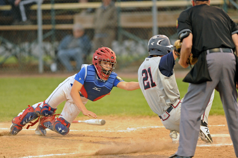 Sheridan catcher Kade Eisele lunges to make a tag at home plate against the Casper Oilers on Wednesday, May 10 at Thorne-Rider Stadium. Mike Pruden | The Sheridan Press