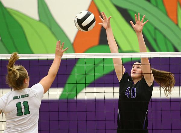 8-29-17<br /> Northwestern vs. Clinton Central volleyball<br /> Steph Burns goes up for a block.<br /> Kelly Lafferty Gerber   Kokomo Tribune