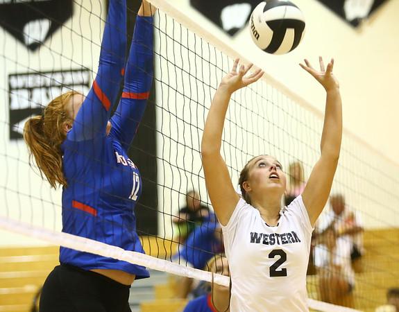 8-15-17<br /> Western vs Kokomo volleyball<br /> Western's Karlyne Shepherd sets the ball.<br /> Kelly Lafferty Gerber   Kokomo Tribune