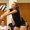 8-29-17<br /> Northwestern vs. Clinton Central volleyball<br /> Klair Merrell digs the ball.<br /> Kelly Lafferty Gerber | Kokomo Tribune