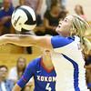 8-15-17<br /> Western vs Kokomo volleyball<br /> Kokomo's Molly Fisher digs the ball.<br /> Kelly Lafferty Gerber | Kokomo Tribune