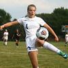 8-16-17<br /> Kokomo vs Oak Hill girls soccer<br /> Kokomo's Katherine Lay tries to keep the ball in bounds.<br /> Kelly Lafferty Gerber | Kokomo Tribune