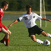 8-17-17<br /> Western vs Kokomo boys soccer<br /> Western's Elijah Woodring, right, and Kokmo's Bryan Stoltzfus.<br /> Kelly Lafferty Gerber | Kokomo Tribune