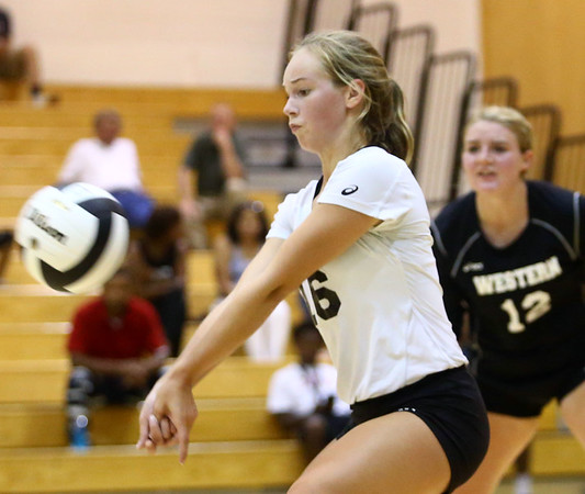 8-15-17<br /> Western vs Kokomo volleyball<br /> Western's Haley Berry digs the ball.<br /> Kelly Lafferty Gerber | Kokomo Tribune