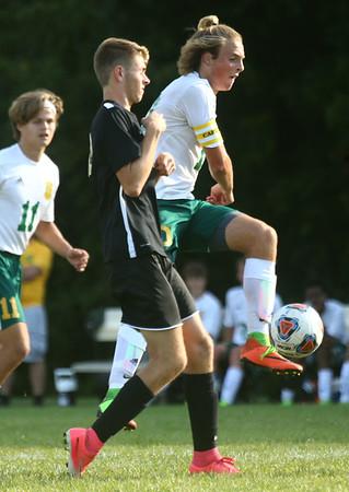 8-30-17<br /> Eastern vs Peru boys soccer<br /> Lance VanMatre gets control of the ball.<br /> Kelly Lafferty Gerber | Kokomo Tribune