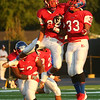 8-18-17<br /> Kokomo vs Hamilton SE football<br /> Kokomo's Brody Smith and Jakobe Sparger celebrate after Smith gets a good tackle.<br /> Kelly Lafferty Gerber | Kokomo Tribune