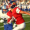 8-18-17<br /> Kokomo vs Hamilton SE football<br /> Kokomo's Noah Cameron runs the ball.<br /> Kelly Lafferty Gerber | Kokomo Tribune