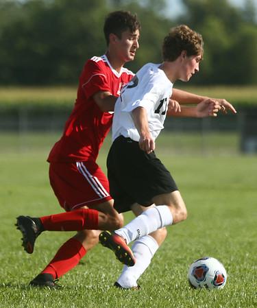 8-17-17<br /> Western vs Kokomo boys soccer<br /> Western's Collin Rassel and Kokomo's Alec Barreira.<br /> Kelly Lafferty Gerber   Kokomo Tribune