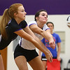 8-29-17<br /> Northwestern vs. Clinton Central volleyball<br /> Klair Merrell and Catelyn Wilson go after a ball.<br /> Kelly Lafferty Gerber | Kokomo Tribune
