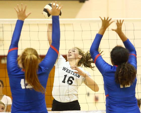 8-15-17<br /> Western vs Kokomo volleyball<br /> Western's Haley Berry spikes the ball.<br /> Kelly Lafferty Gerber   Kokomo Tribune