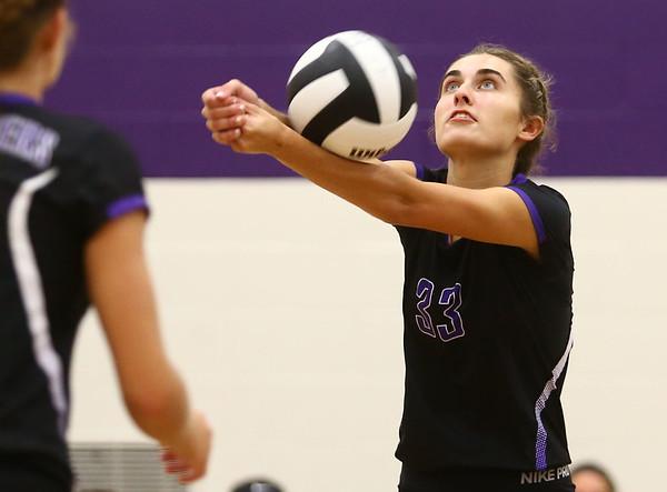 8-29-17<br /> Northwestern vs. Clinton Central volleyball<br /> Madison Layden digs the ball.<br /> Kelly Lafferty Gerber | Kokomo Tribune