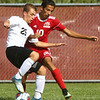 8-17-17<br /> Western vs Kokomo boys soccer<br /> Western's Charles Padgett and Kokomo's Myles McIlrath.<br /> Kelly Lafferty Gerber | Kokomo Tribune