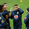 The Brazil national football team practice at the MCG
