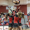 Sophmore Madison Swisher falls back in to the waiting arms of her stunt group