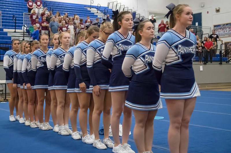 Page County Cheerleaders stand in a moment of silance for their fallen schoolmate, Brooke Ludwig