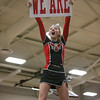 Madision Swisher hold up We Are sign towards the fans as the ERHS Cheerleaders lead them in a cheer