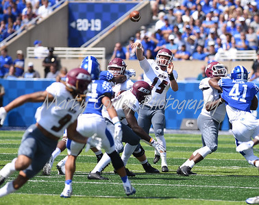 Eastern Kentucky quarterback, Austin Scott throws a pass to reciever, Ryan Markush on Saturday in Lexington.  MARTY CONLEY/ FOR THE DAILY INDEPENDENT