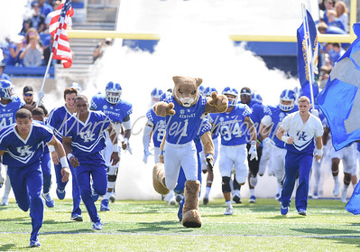 The Kentucky Wildcats take the field on Saturday against the Eastern Kentucky Colonels at Kroger Field in Lexington.  MARTY CONLEY/ FOR THE DAILY INDEPENDENT