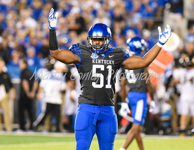 Kentucky linebacker, Courtney Love pumps up the crowd at Kroger Field in Lexington on Saturday night against Missouri.  MARTY CONLEY/ FOR THE DAILY INDEPENDENT