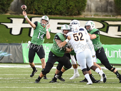 Marshall quarterback, Chase Litton releases a pass on Saturday evening against Kent State.  MARTY CONLEY/ FOR THE DAILY INDEPENDENT