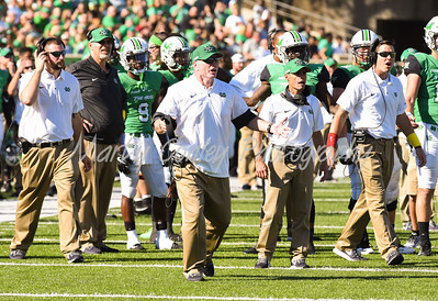 Marshall head coach, Doc Holliday and staff react to a call made on Saturday against Old Dominion.  MARTY CONLEY/ FOR THE DAILY INDEPENDENT